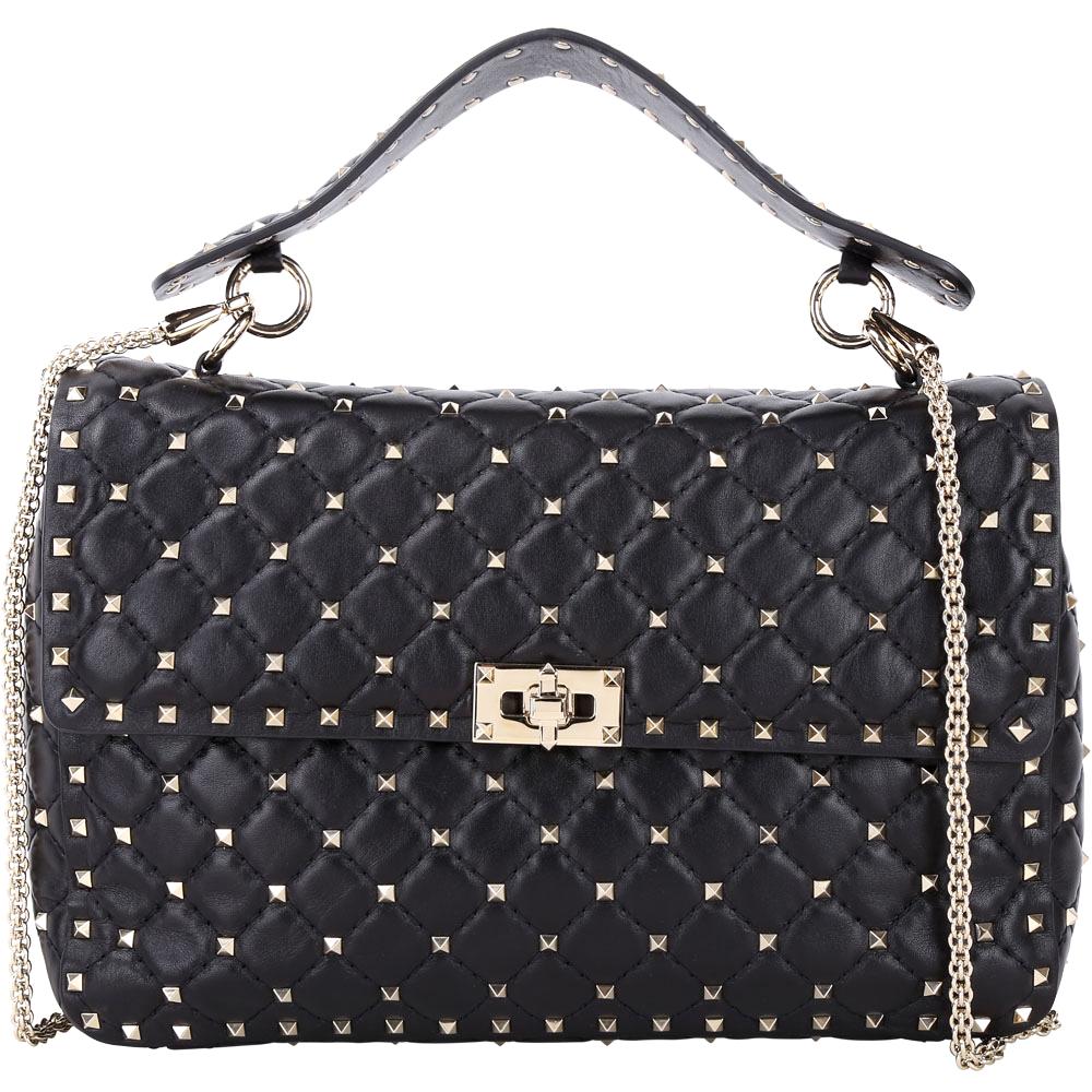 (無卡分期12期)VALENTINO Rockstud Spike黑色絎縫小羊皮鉚釘搖滾包 @ Y!購物