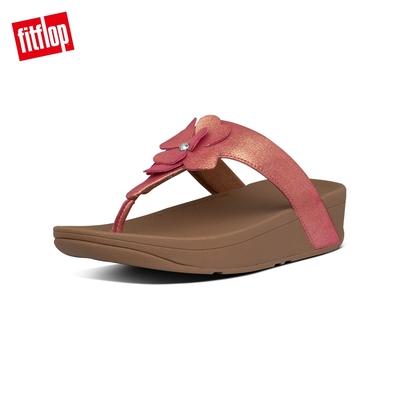 FitFlop LOTTIE CORSAGE SUEDE TOE-THONGS 麂皮花朵夾腳涼鞋-女(櫻花粉)