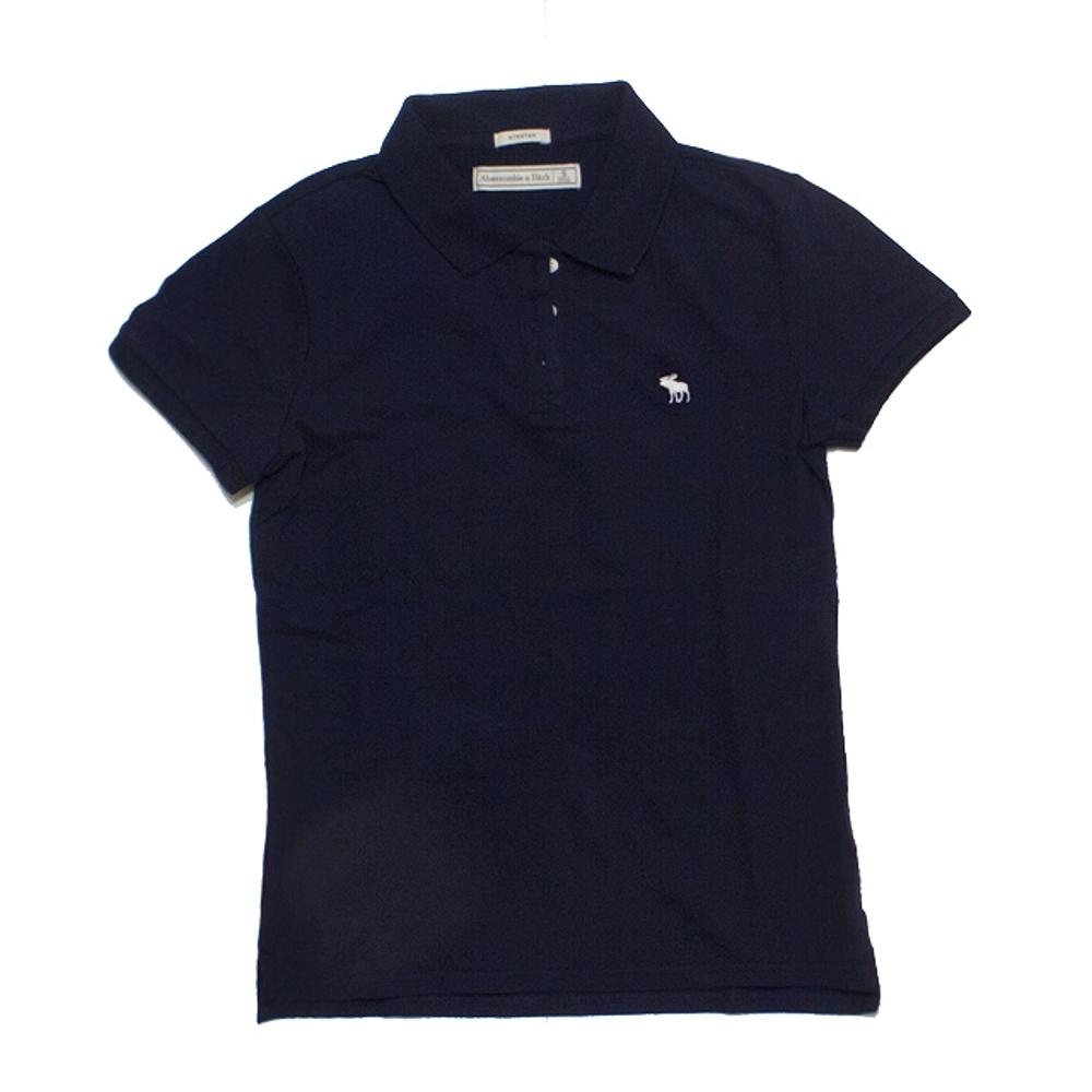 A&F 小麋鹿白 Logo素色POLO衫(女/深藍色-S)