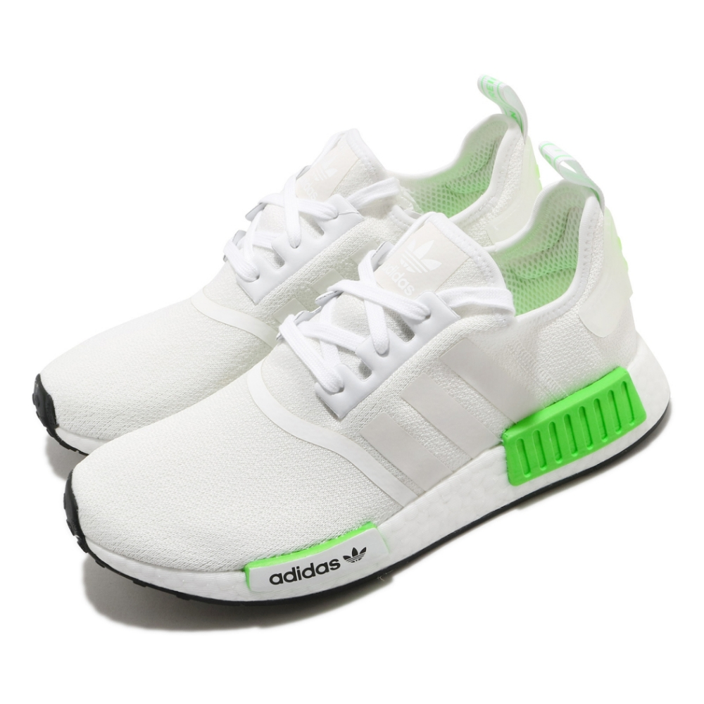 adidas 休閒鞋 NMD R1 襪套式 男女鞋 愛迪達 三葉草 Boost底 緩震 穿搭 白 綠 FX3096