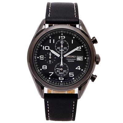 SEIKO 霸氣黑色時尚的計時皮革款手錶(SSB277P1 )-黑面X黑色/45mm