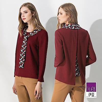 ILEY伊蕾 幾何印花配色領巾上衣(紅)