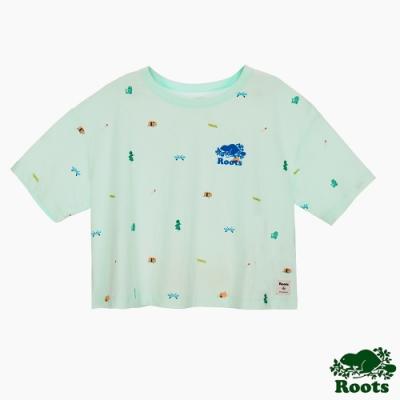 女裝Roots 露營小野心短版短袖T恤-綠色