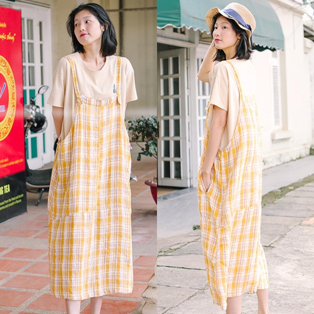 吊帶裙-高支細亞麻色織黃格子寬鬆棉麻洋裝-設計所在