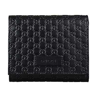 GUCCI經典Guccissima系列MINI雙G LOGO牛皮4卡釦式短夾(黑)