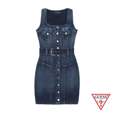GUESS-女裝-單寧無袖連身裙-深藍