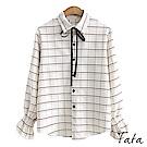格紋縮口袖襯衫(附領帶) 共二色 TATA