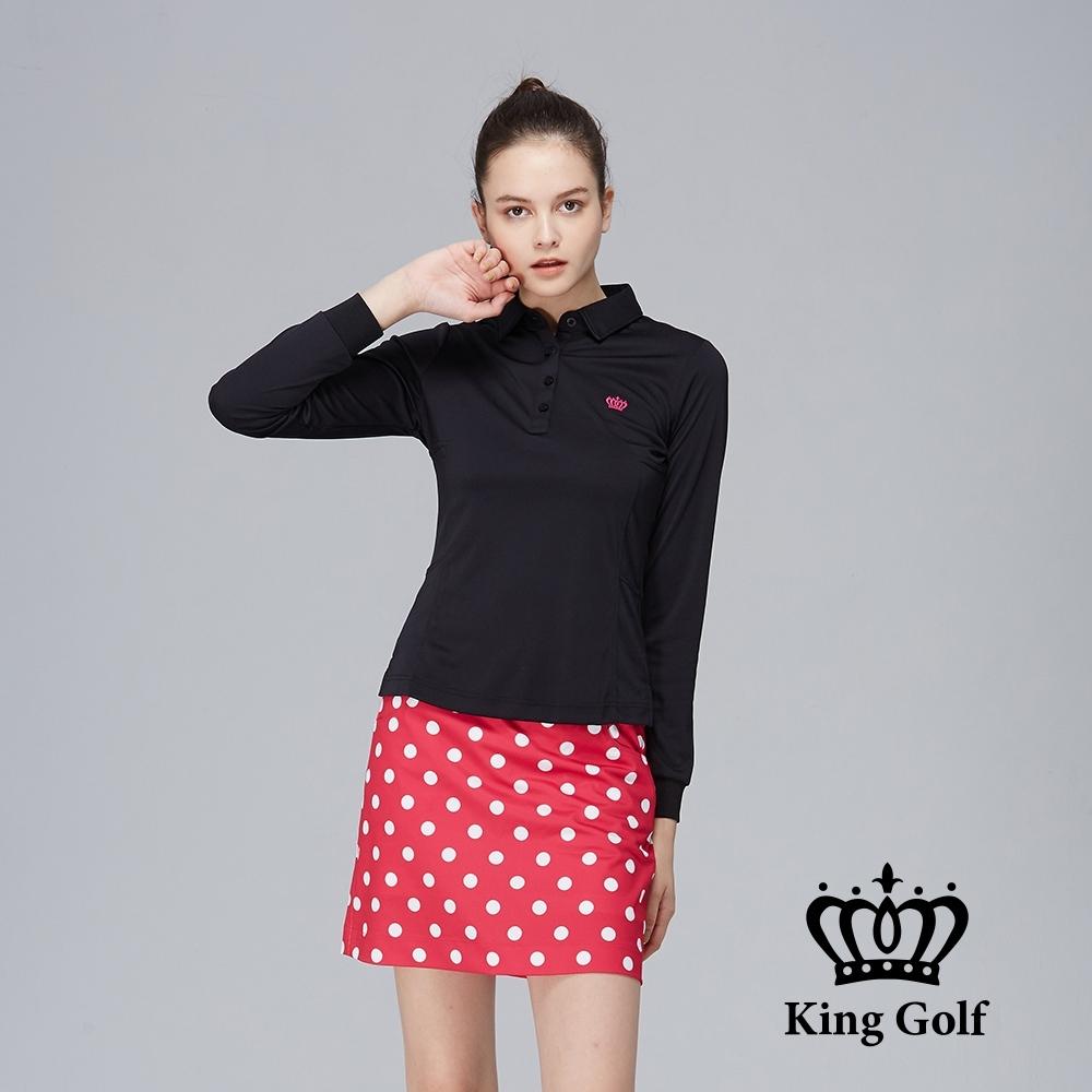 【KING GOLF】素面薄款立體刺繡長袖POLO衫-黑色