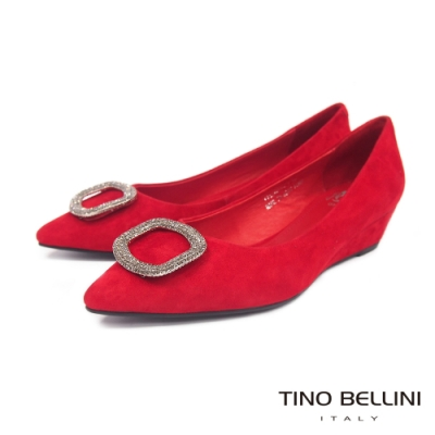 Tino Bellini 璀璨方釦羊麂皮尖楦楔型鞋 _紅