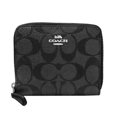 COACH鐵灰黑色C Logo內真皮拉鍊短夾