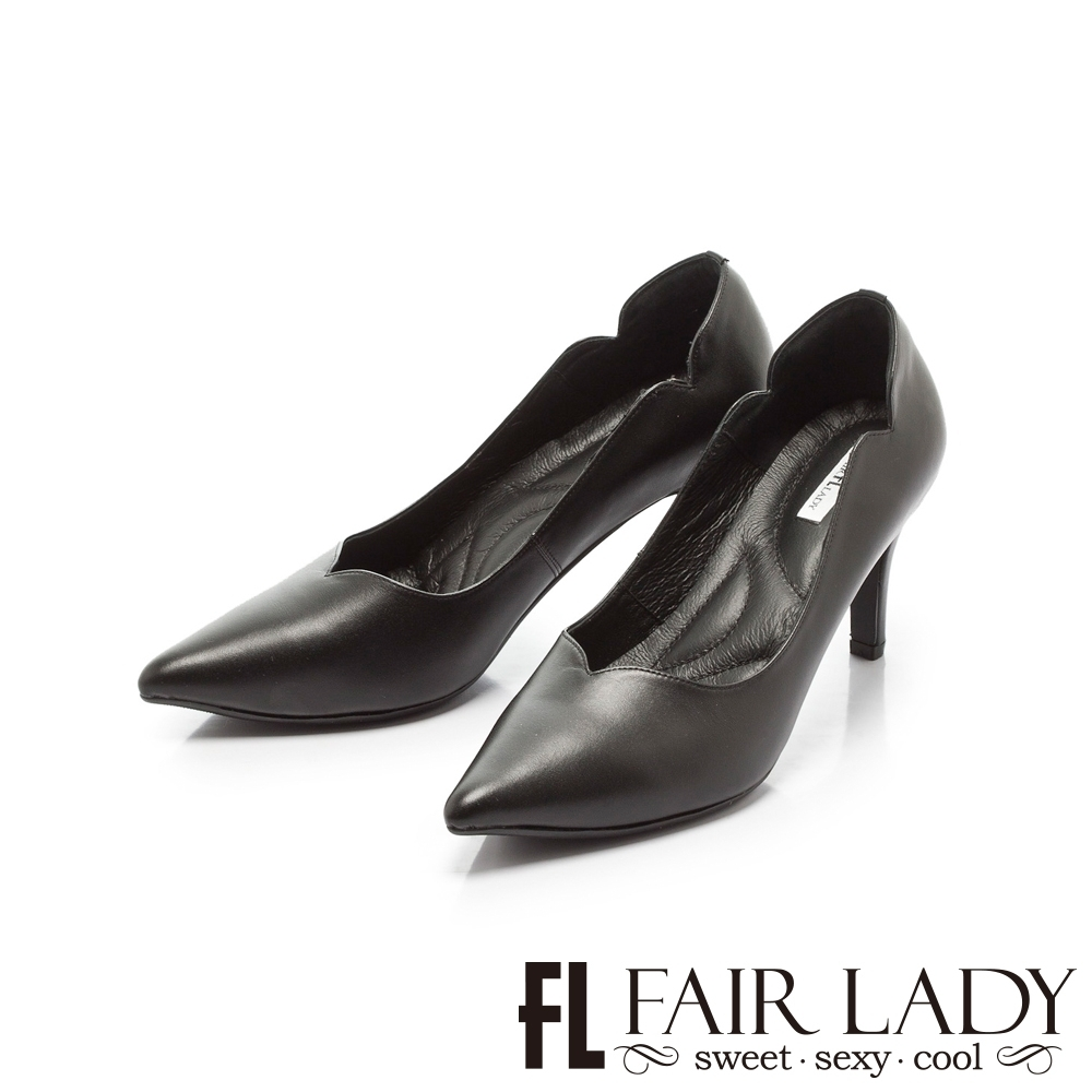 FAIR LADY 優雅小姐Miss Elegant桃心鞋口側v曲線尖頭高跟 黑