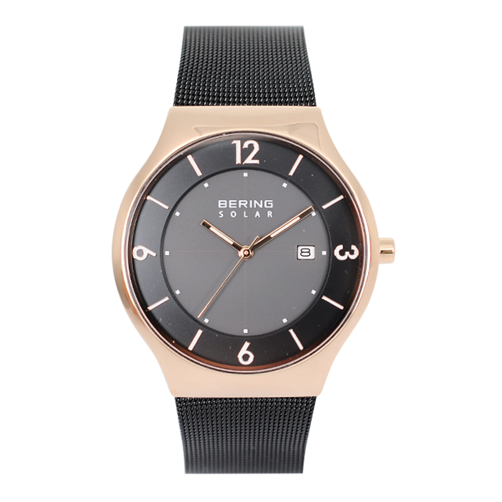 BERING 丹麥精品手錶 日期顯示太陽能米蘭帶系列 玫瑰金x黑色40mm
