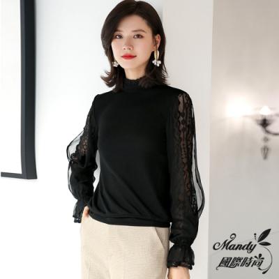 Mandy國際時尚 長袖上衣 秋 簡約蕾絲袖拼接雪紡針織毛衣(3色)