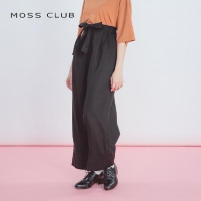 【MOSS CLUB】綁帶高腰修身寬口-長褲(二色)