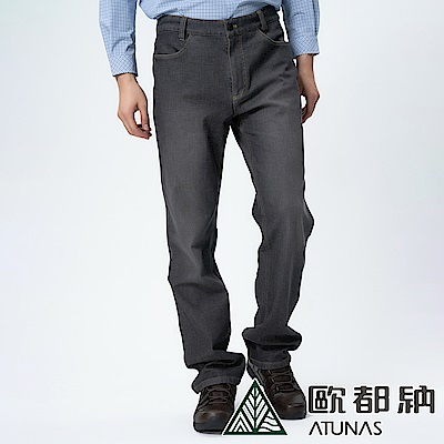 【ATUNAS 歐都納】男款SOFT SHELL薄牛仔風格長褲A-PA1430M黑