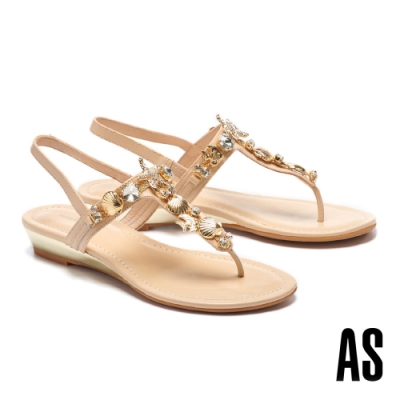 涼鞋 AS 深海精靈海洋鑽飾全真皮楔型低跟夾腳涼鞋-米