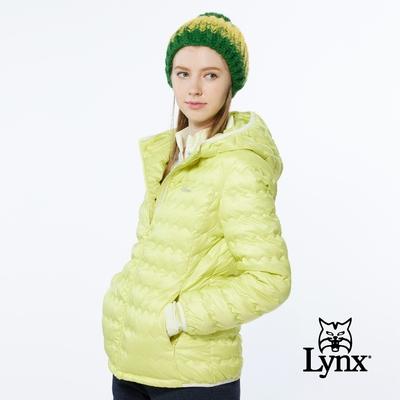 【Lynx Golf】女款防風潑水保暖羽絨波浪紋路隱形拉鍊口袋長袖連帽外套-檸檬黃色