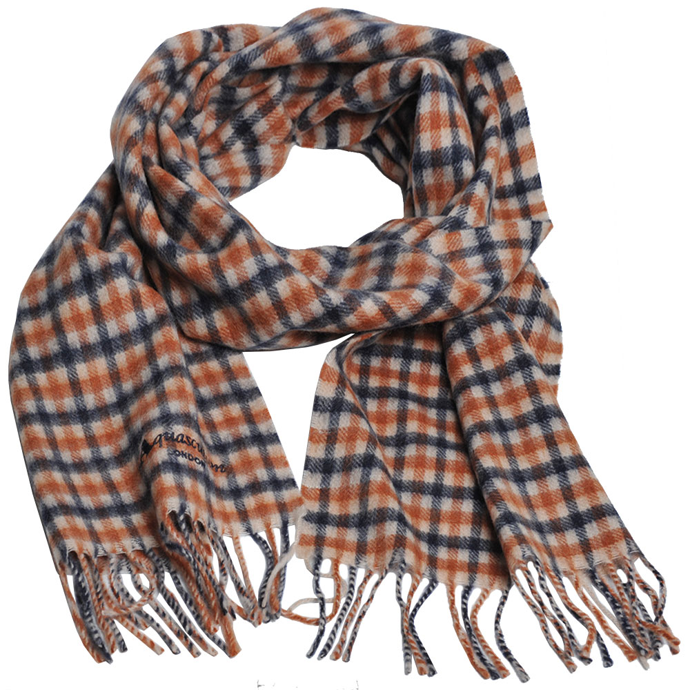 Aquascutum 義大利製100%喀什米爾經典品牌LOGO刺繡圍巾(卡其格) @ Y!購物