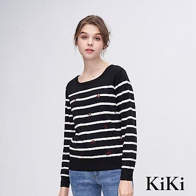 KiKi INLook 刺繡小花條紋針織上衣(黑色)