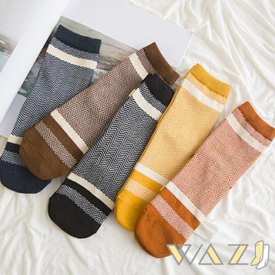 Wazi-日系直版波浪紋中筒襪 (1組五入)