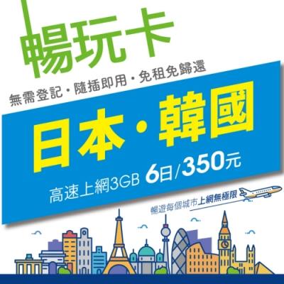 【暢玩卡】日本/韓國6日3GB高速上網