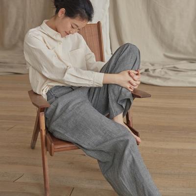 旅途原品_棋盤_原創設計亞麻色織格紋寬鬆蘿蔔褲- 花色
