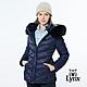 【Lynx Golf】女款防風保暖潑水羽絨晶亮斜紋拉鍊口袋長袖可拆式連帽外套-深藍色 product thumbnail 2
