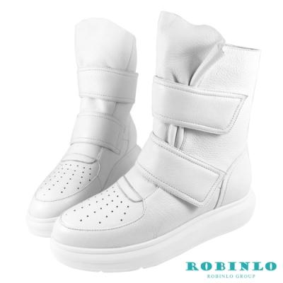 Robinlo 全真皮魔鬼氈休閒平底短靴 白色
