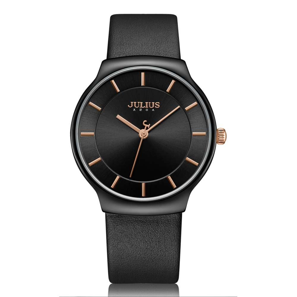 JULIUS聚利時 專屬誓言簡約時尚皮錶帶腕錶-質感黑/38.5X42.5mm