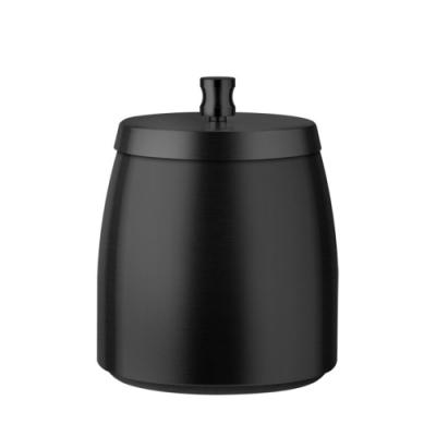 PUSH!居家生活用品拉絲不銹鋼帶蓋煙灰缸防風防飛煙灰煙灰缸(黑色)D244-1