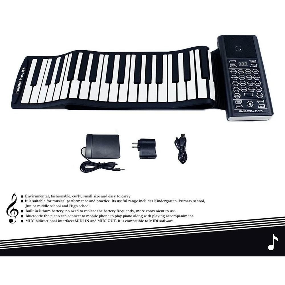 美國【iLearnMusic】61鍵加厚版專業手捲鋼琴 便攜式電子琴 電鋼琴 D61