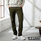 JEEP 經典修身休閒口袋工作褲-橄欖綠