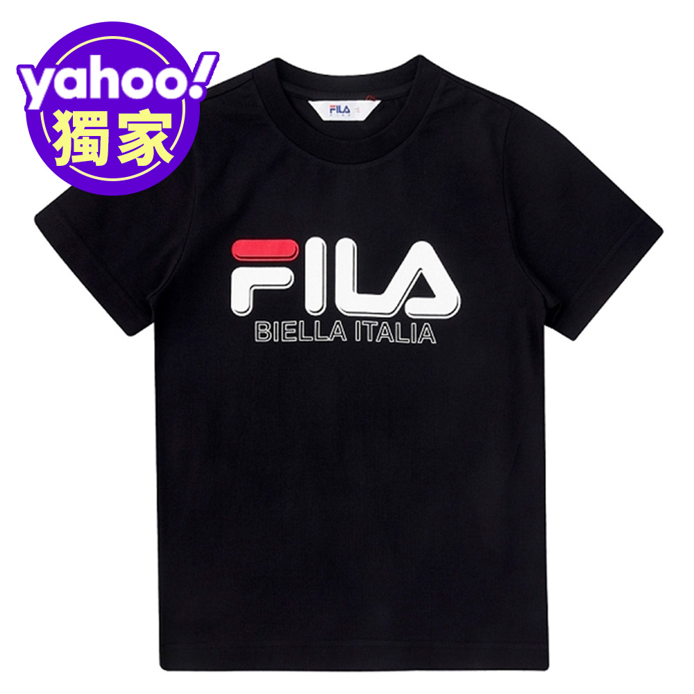 FILA KIDS 童短袖圓領上衣-黑 1TEV-4501-BK