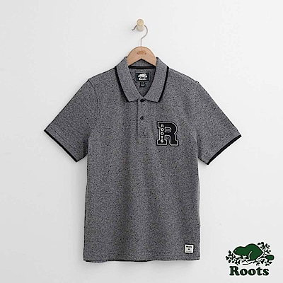Roots 男裝-文織字母短袖POLO衫-灰色