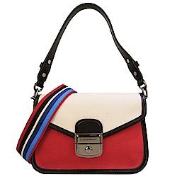 Longchamp 織布拼接斜背包-紅色