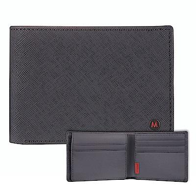 Mondaine 瑞士國鐵國徽系列十卡短夾-十字紋灰
