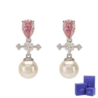 SWAROVSKI 施華洛世奇 Perfection璀璨水晶珍珠十字造型銀色耳環