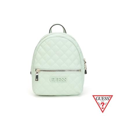 GUESS-女包-素面菱形壓紋後背包-淺綠
