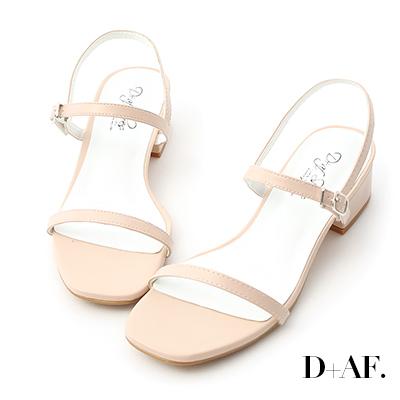 D+AF 氣質女孩.一字細帶方頭低跟涼鞋*粉