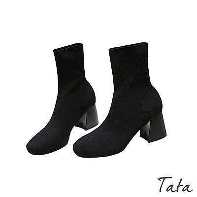 圓頭粗高跟襪靴 TATA