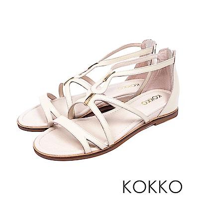 KOKKO  - 秘密約會羊皮內增高羅馬涼鞋-燕麥米