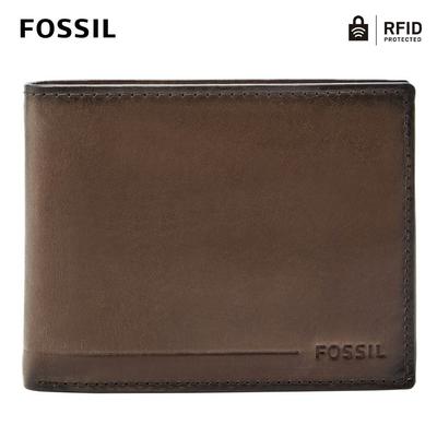 FOSSIL Allen 真皮RFID防盜證件格零錢皮夾-深棕色 SML1548201