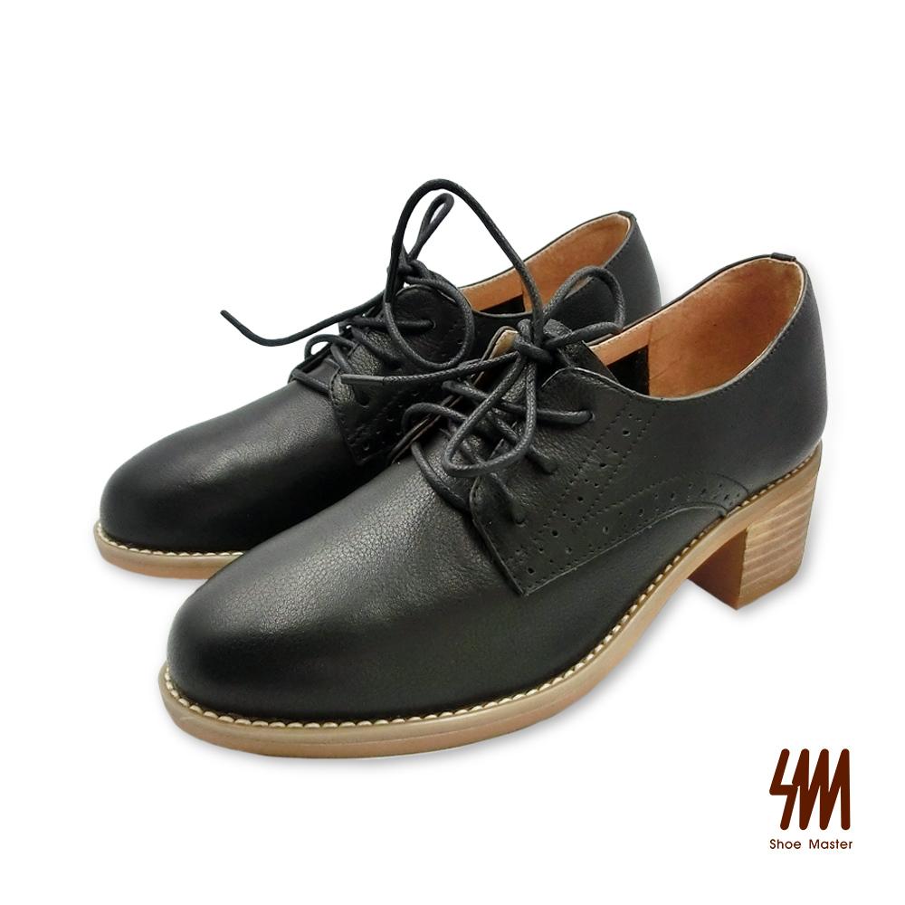 SM-真皮微尖頭花紋綁帶低跟牛津鞋 (兩色)