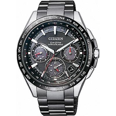 CITIZEN星辰 光動能GPS衛星對時鈦計時腕錶(CC9015-62E)-黑/43.5m