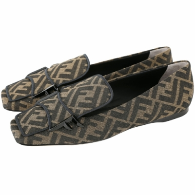 FENDI FFreedom 緹花布面羊皮方頭樂褔鞋(黑色)