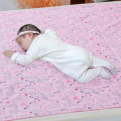 米夢家居-台灣製造-全方位超防水止滑保潔墊/生理墊/尿布墊-嬰兒75x90cm-粉紅城堡