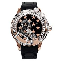 Galtiscopio迦堤 夢幻星際系列星空手錶-黑x玫塊金框/50mm
