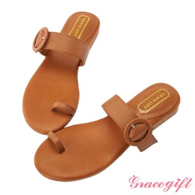 Grace gift-真皮一字套趾涼拖鞋 棕