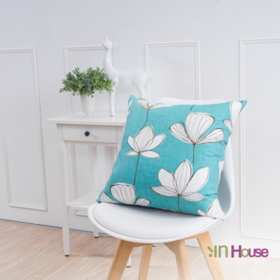 IN-HOUSE-簡約系列抱枕-手繪葉脈藍(50x50cm)