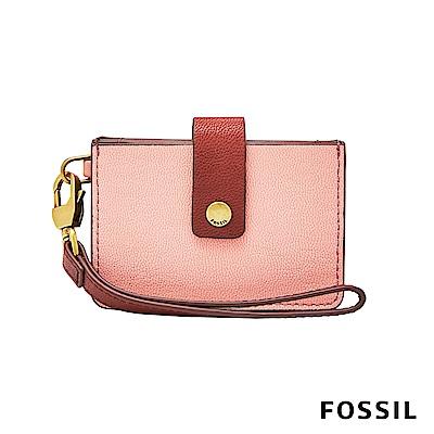 FOSSIL Mini Tab Wallet 系列多層小夾-粉橘色
